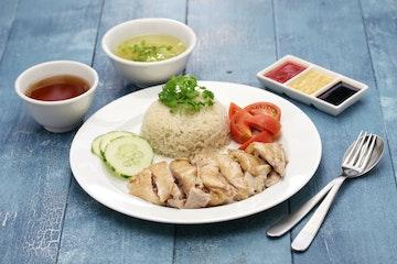 Stock Photo - Hainanese chicken rice, singapore cuisine