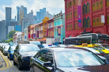 Stock Photo - Traffic jam on a busy road of Singapore