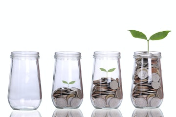 Stock Photo - Growing plant step with coins money